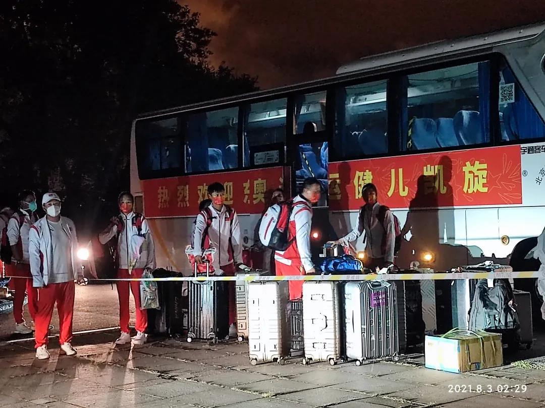 载誉归来的中国帆船帆板队今日抵达锦州封闭隔离